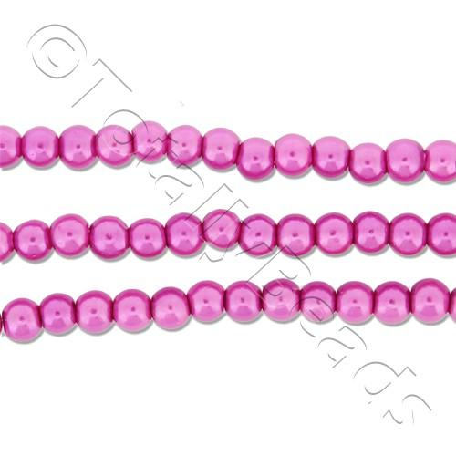 Glass Pearl Round Beads 3mm - Pink