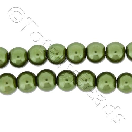 Glass Pearl Round Beads 6mm - Olive