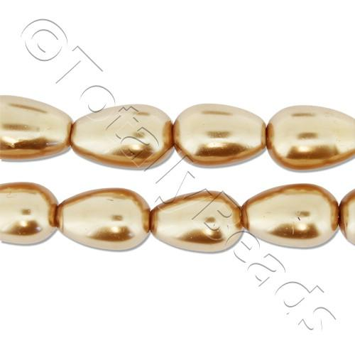 Glass Pearl Drop 6x9mm - Gold