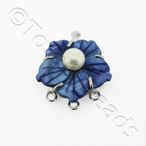 3 Row Connector Box Clasp Flower - Dark Blue
