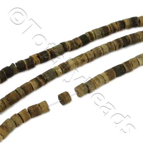 "Wooden Bead - Natutal Tube Rondelle 3mm 16"" String"