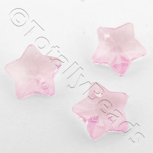 Crystal Charm Star 10mm - Pink 10pcs