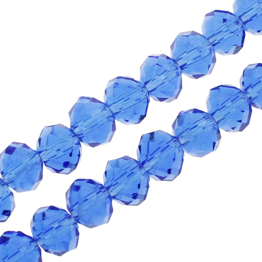 "Crystal Rondelle 6x8mm - Blue 16"" String"