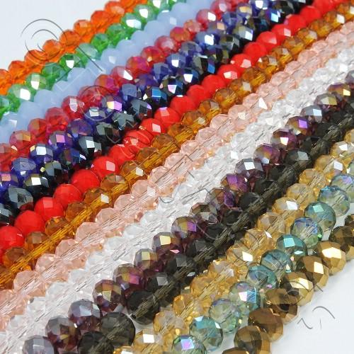 Crystal Rondelle 6x8mm - Mega Mix 10 String Pack 700 Beads