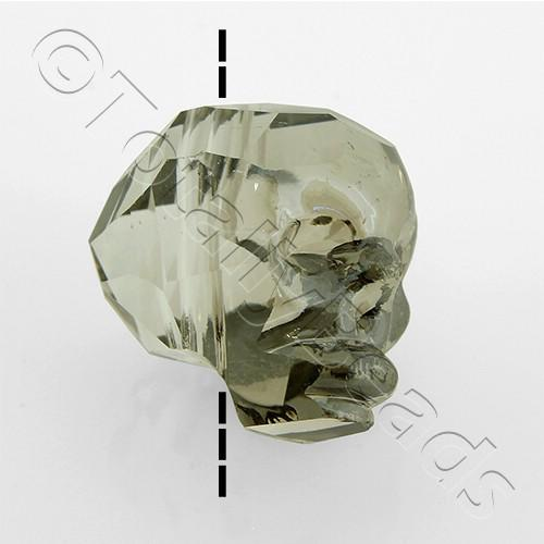 Crystal Skull Bead 13mm 1 Piece - Silver Dust