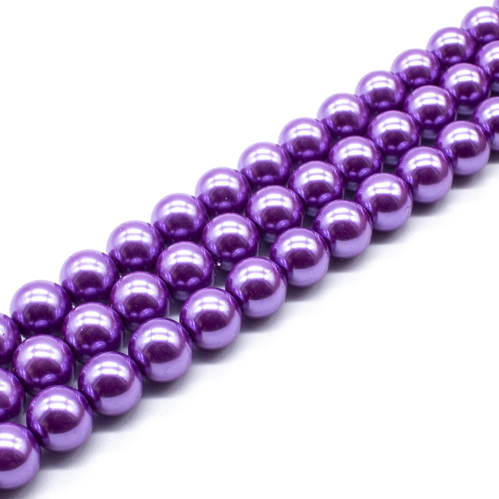 Glass Pearl Round Beads 10mm - Lilac