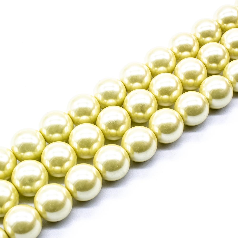 Glass Pearl Round Beads 12mm - Lemon