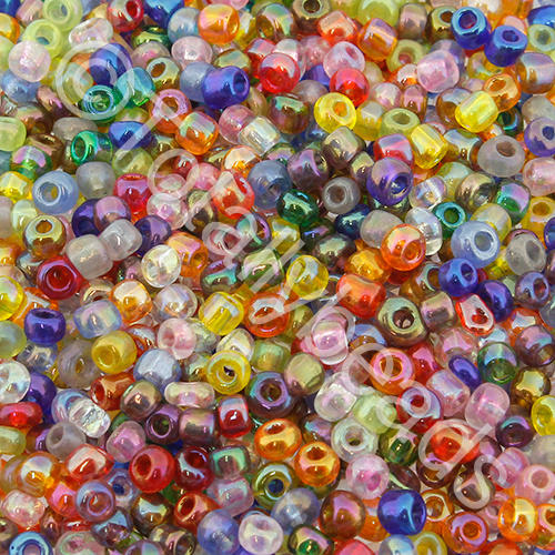 Seed Beads Transparent Rainbow  Mixed - Size 8