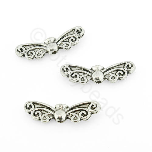 Tibetan Silver Bead - Wing 7x22mm