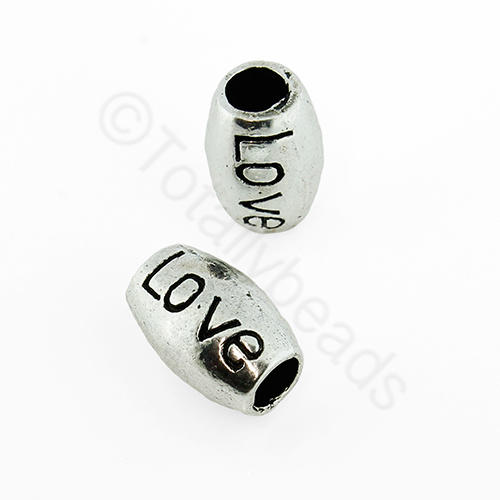 Tibetan Silver Bead - 'Love' Barrel
