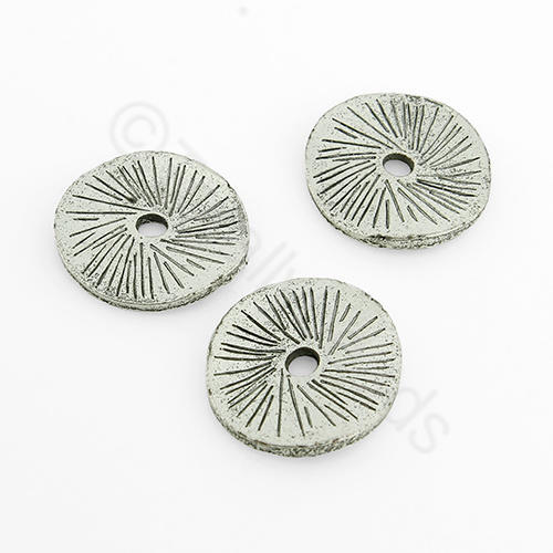 Tibetan Silver Bead - Curve Disc 15mm
