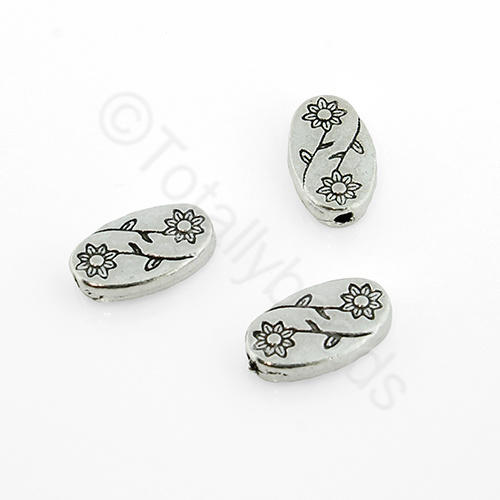 Antique Silver Flower - 11x6mm - Oval