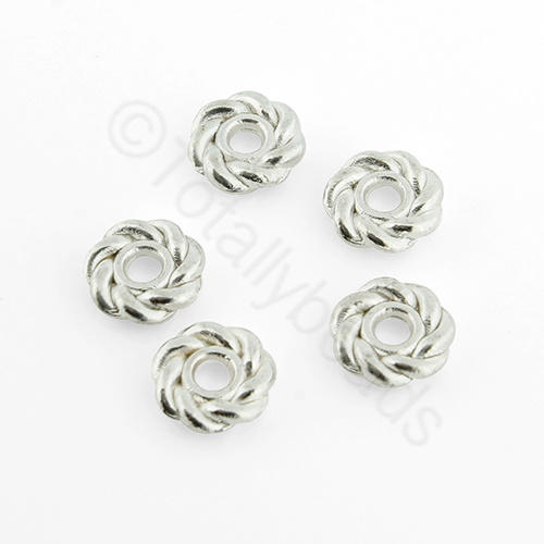 Tibetan Silver Bead - Roped Bead 8mm - Silver