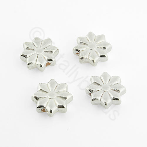 Silver Flower Disc - 10mm - 8 Petals