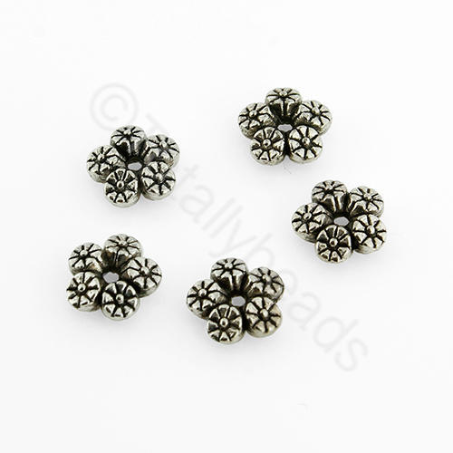 Antique Silver 5 Flower Disc 7mm 30pcs