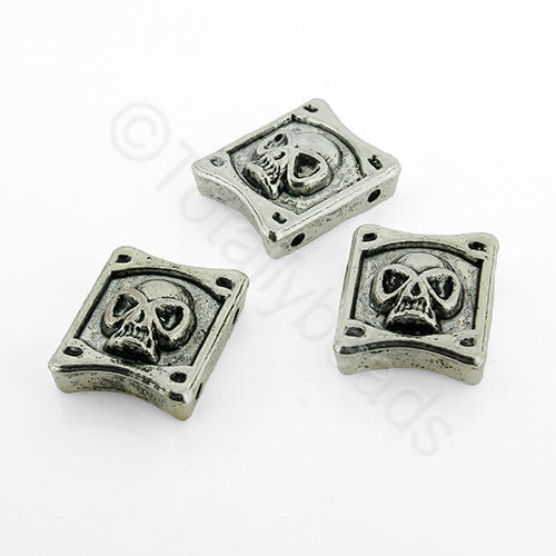 Antique Silver Metal Bead - Skull 17x15mm 5pcs - H1375