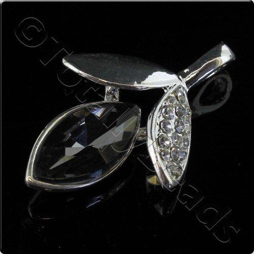 Silver Metal Black Diamond Crystal Leaf Pendant 38mm