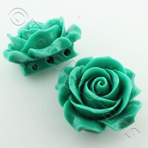 Acrylic Rose 35mm 3 Rows - Dark Green