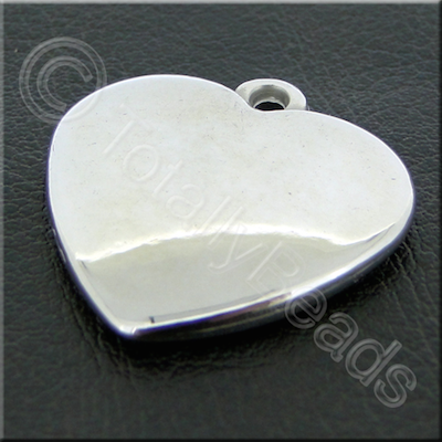 Metalised Acrylic Heart Charm - 24mm - Silver