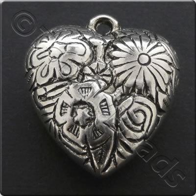 Metalised Antique Silver Heart 28x31x12mm