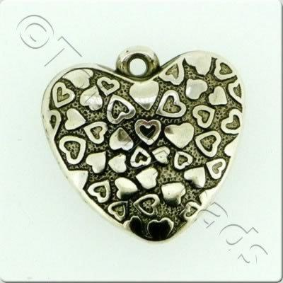 Acrylic Antique Heart Charm - 30mm
