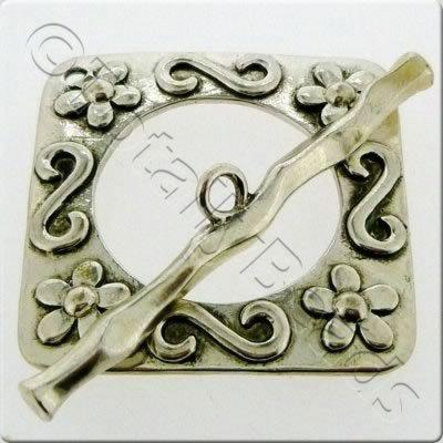 Tibetan Silver Toggle - Extra Large Square