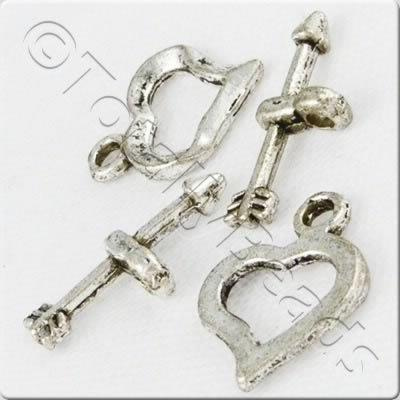 Tibetan Silver Heart Toggle (AC2020)