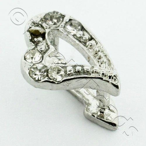 Silver Clear Diamante Bail - Heart 12mm