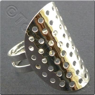 Beading Ring - Curved Disc 28mm - Silver Plated