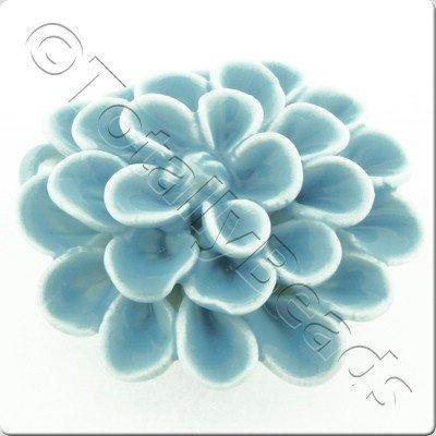 Ceramic Pendant - Flower - Blue