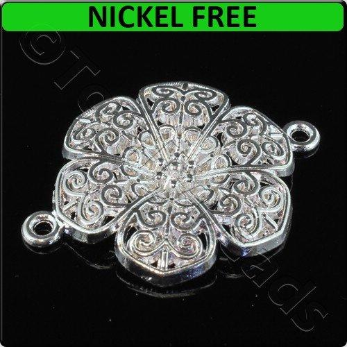 Silver Metal Connector Filigree Petals 30x41mm 3pcs