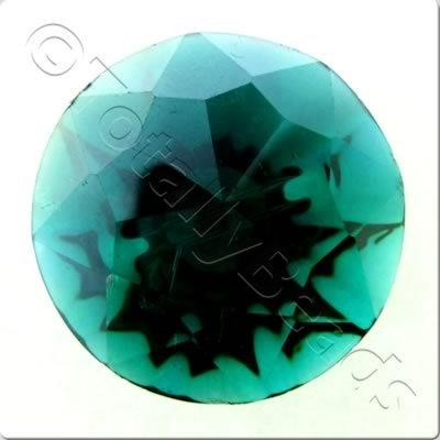 Crystal Button - Round 25mm - Teal with AB plating on the back