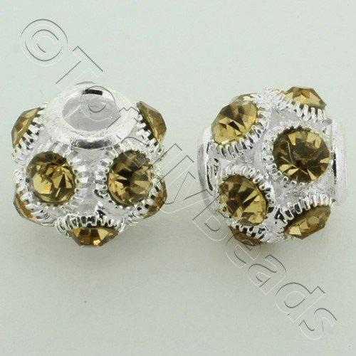 Large Hole Round Rhinestone Spacer Bead 14mm - Champagne
