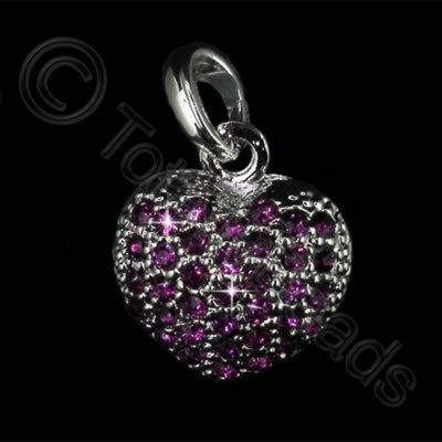 Diamante Pendant - Small Heart - Amethyst