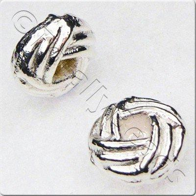 Tibetan Silver Bead - Hatched Rondelle 6mm - Silver