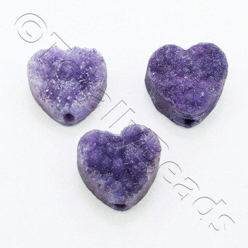 Druzy Bead Heart 12mm - Purple Plate