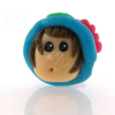 Fimo Doll Bead - Girl Turquoise Hat