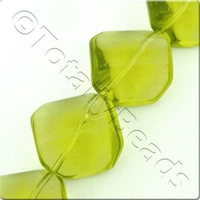 Glass Arc Octagon - 21mm - Light Olive - 14pcs