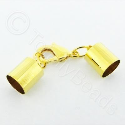Kumihimo 10mm Barrel Lobster Clasp Gold - 1 set