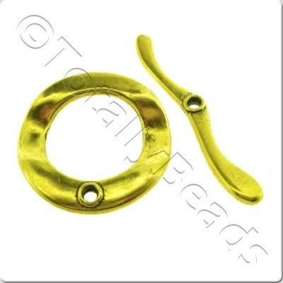 Tibetan Gold Toggle - Wave Ring 30mm A10114