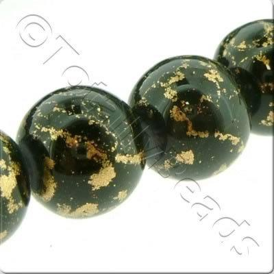Gold Shimmer Glass Beads Round - Black