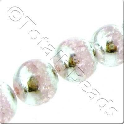 Half Silver Round Glass Bead - Rose