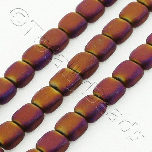 Hematite Flat Square 4mm - Matt Purple Plated