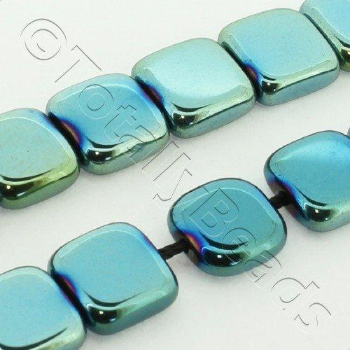Hematite Flat Square 8mm - Green Plated