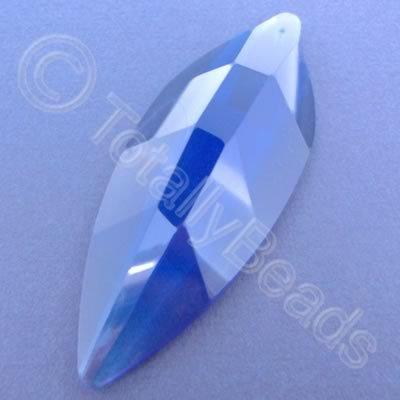 Glass Pendant Leaf Rounded Blue - 80mm