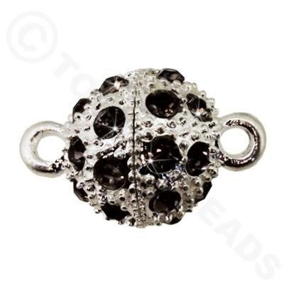 Magnetic Clasp Spotted Round 12mm Black Diamond Crystals - Silver