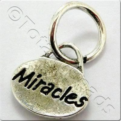 Tibetan Silver Message Tag/Charm - Miracles