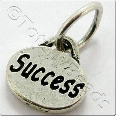 Tibetan Silver Message Tag/Charm - Success