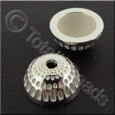 Metalised Acrylic Bead Cap - 13x6mm - Silver 40pcs