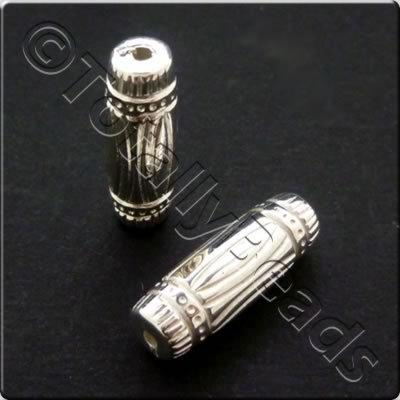 Metalised Acrylic Bead Pattern Tube 19x7mm - Silver 35pcs